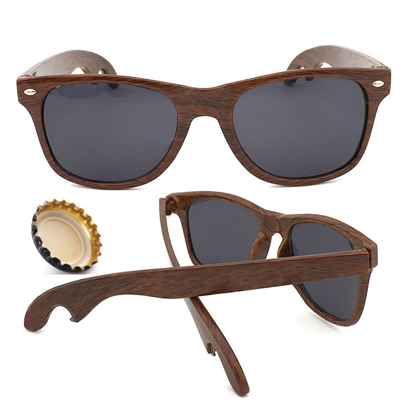 Custom Designer Beer Bottle Opener Sunglasses Imation Wood Grain Party Glasses
