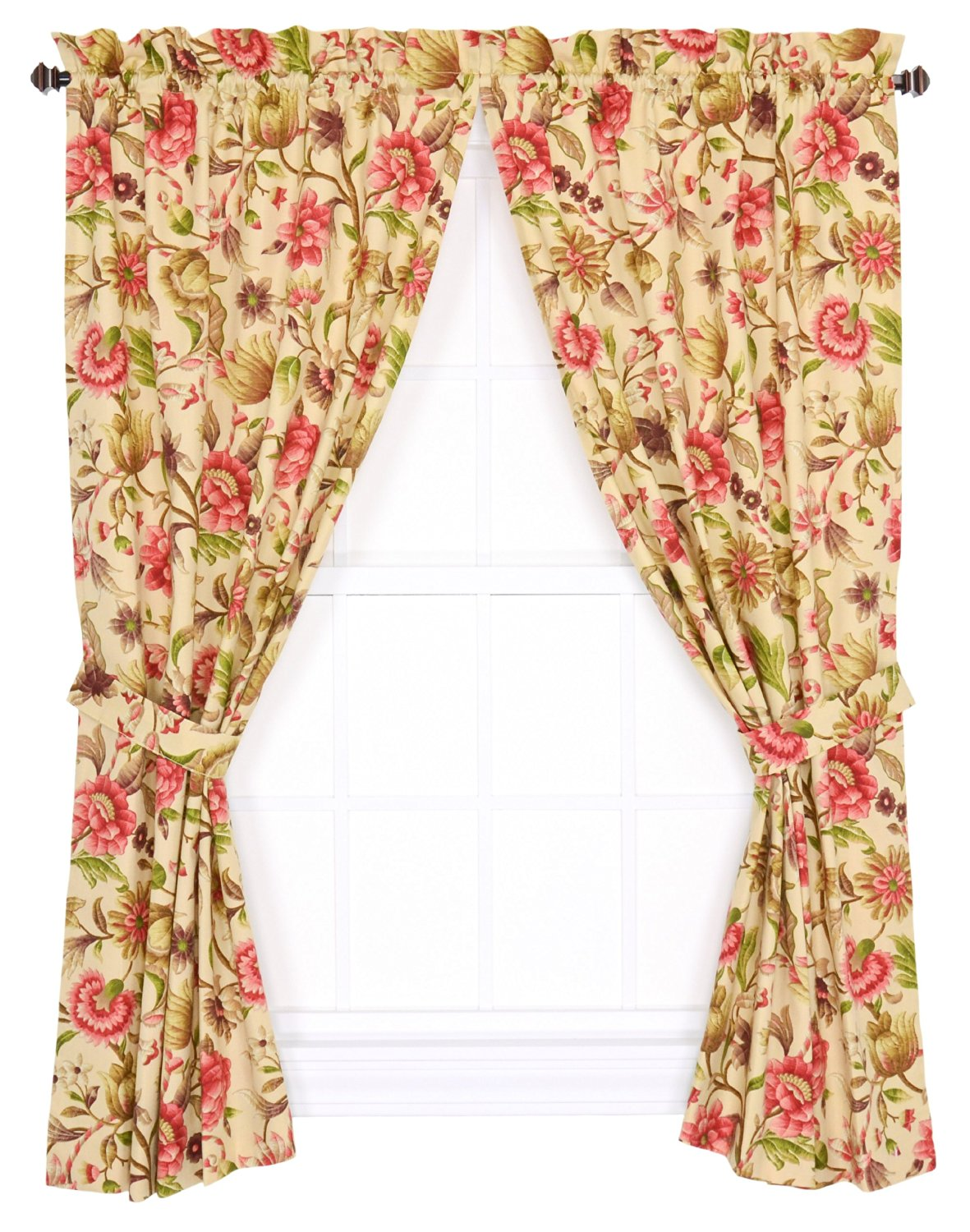 Ellis Curtain Vareen Floral Print Tailored Panel Pair Curtains with Tiebacks, 68 by 84-Inch, Antique