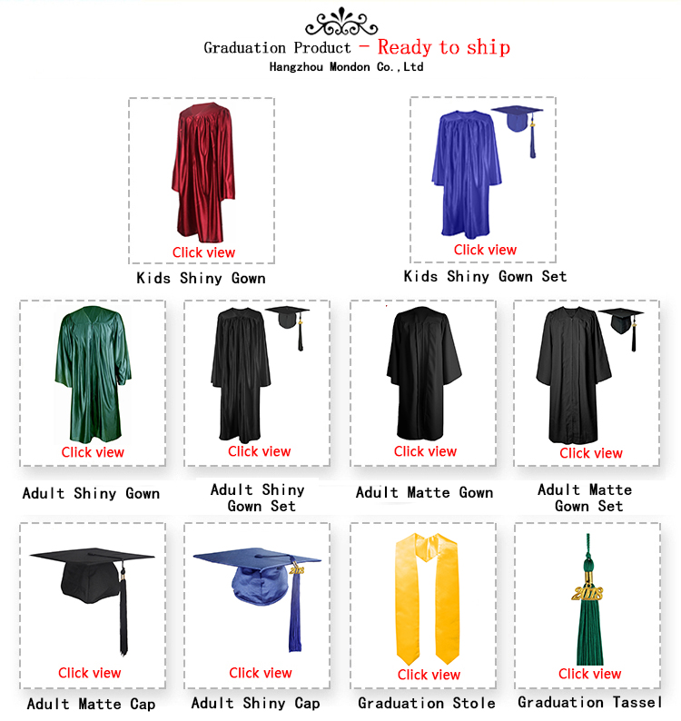 High School 100% Shiny Polyester Graduation Caps Gowns Tassels
