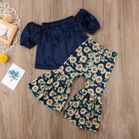Toddler Kids Girl Clothing Set Off shoulder Tank Tops +Sunflower Bell Bottom Trouser Outfits Children Summer Clothes