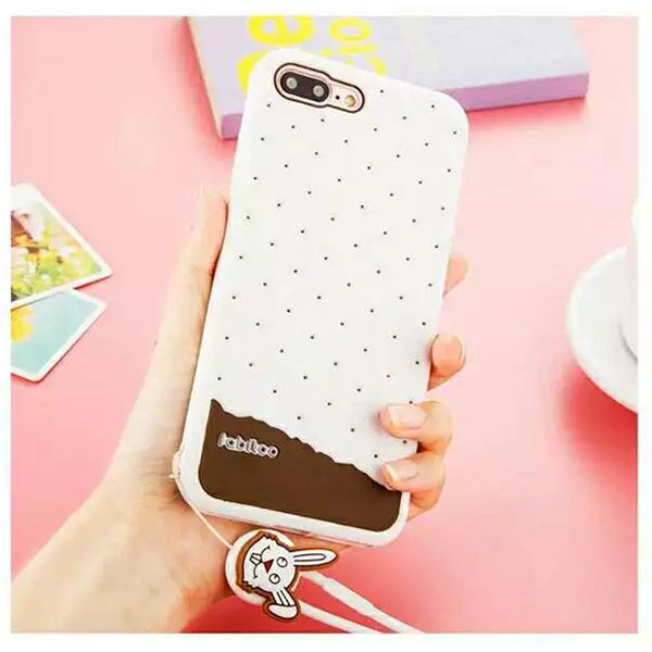 3D Cartoon Rabbit Chain Soft Silicone Gel Cover Case for iPhone 7 Plus
