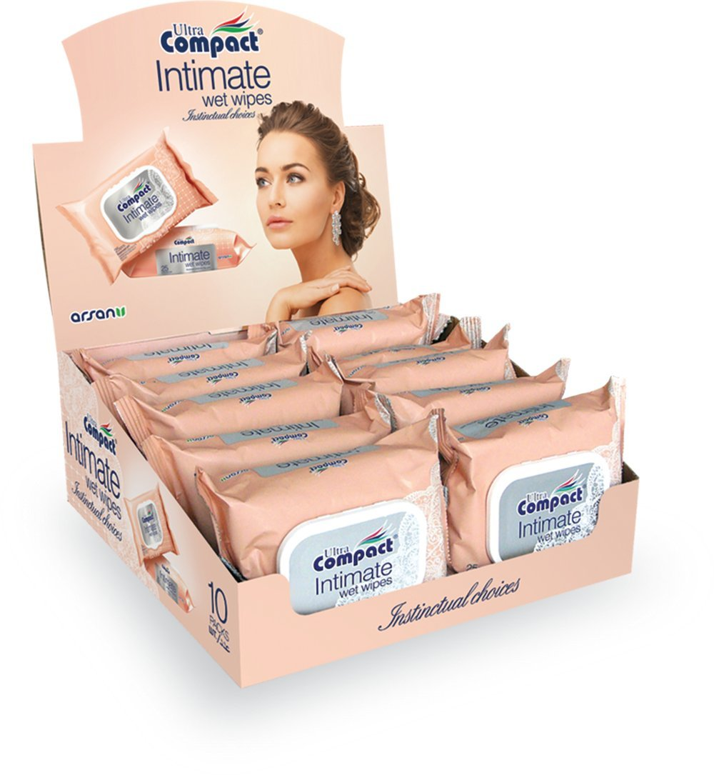 Intimate Feminine Wipes, Women Personal Care Wipes, Hygienic, Re-Sealable, 25ct Per Pack, Set Of 10 Packs In Exquisite Case Fresh Fragrance
