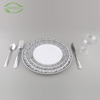 High quality wholesale Food grade round custom printed plastic disposable dinnerware