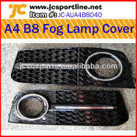 09-11 Glossy Black Honeycomb Front Bumper Fog Light Lamp Grille Cover for Audi A4 B8