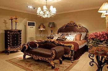 luxe neo klassieke amerikaanse stijl golden carving lederen bed royal imperial gouden slaapkamer meubels set