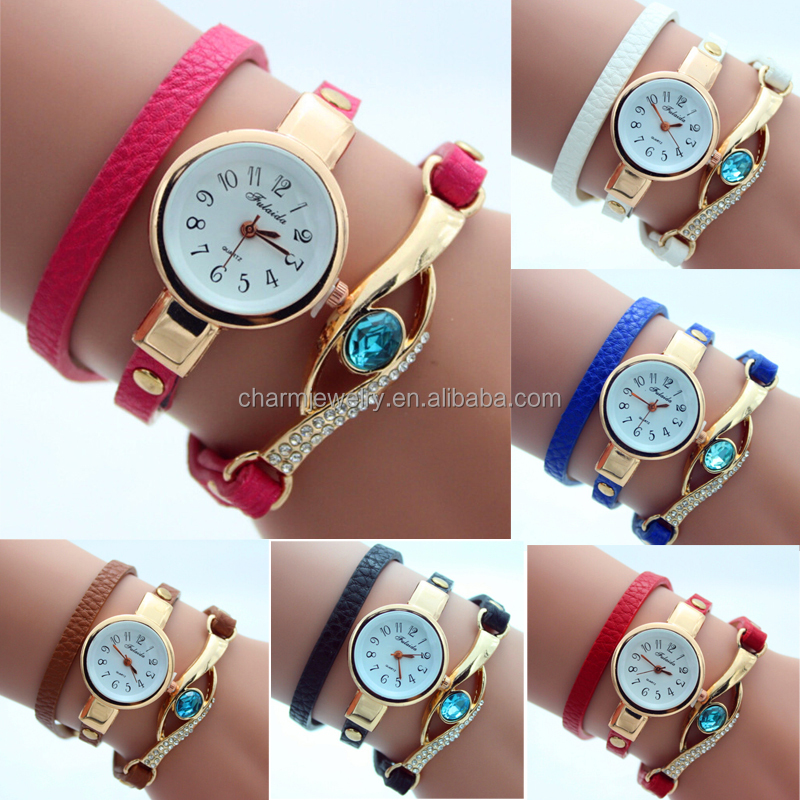 Korean Fashion New Dress Color Ladies Bracelet Watches Woman Casual Knit Long Leather Quartz Watch BWL126