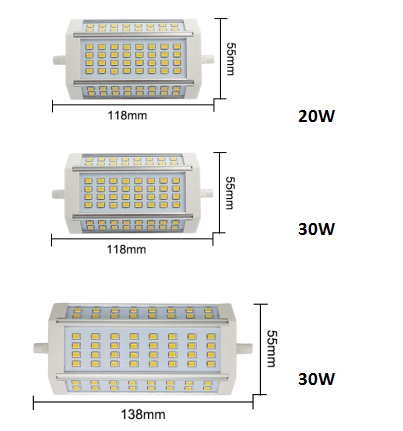 Hot Sale Dimmable R7S 360 Derajat LM80 R7S Lampu LED dengan U-L ERP Persetujuan CE RoHS 118 Mm LED R7S 30W