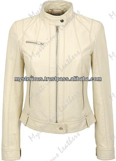 Women Cream Color Short Leather Jacket,Women Short Color Leather ...