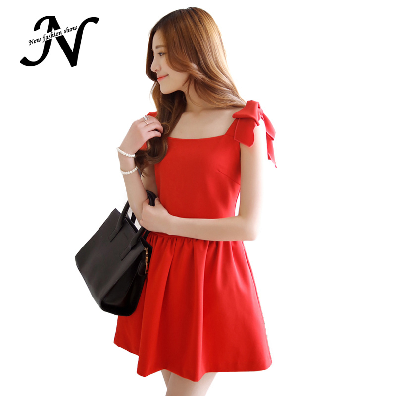 New Fashion Elegant Cute Dresses For Women Sheer Solid Red Bow Shoulders Strap Sundress Sexy Summer Dress 2015 High Quality 2016