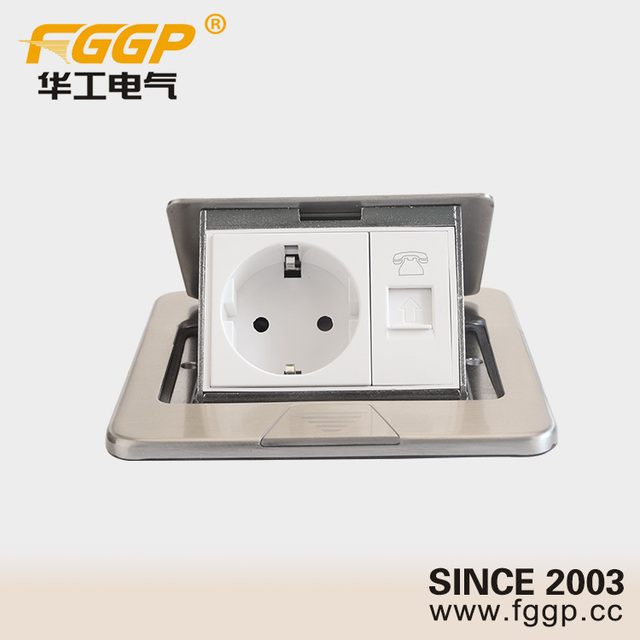 stainless steel floor flush mounted pop up european standard electrical outlet receptacle