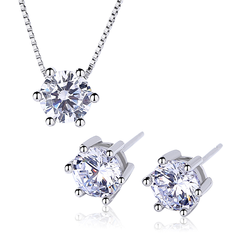 925 Sterling Silver Round CZ Solitaire jewelry <strong>Set</strong> For Women by Moyu