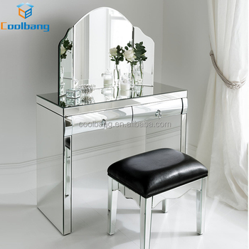 Korean Furniture Style 2 Curved Drawers Modern Dressing Table With Mirrors  And Stool