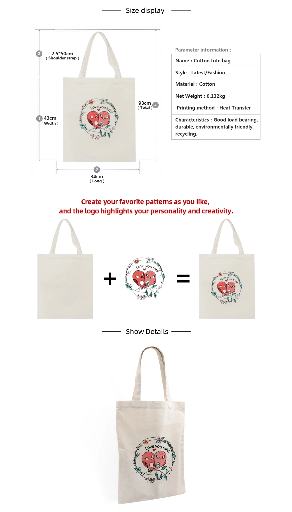 2020 Stylish Promotional Custom Printed Organic Cotton Bag Canvas Tote Bags