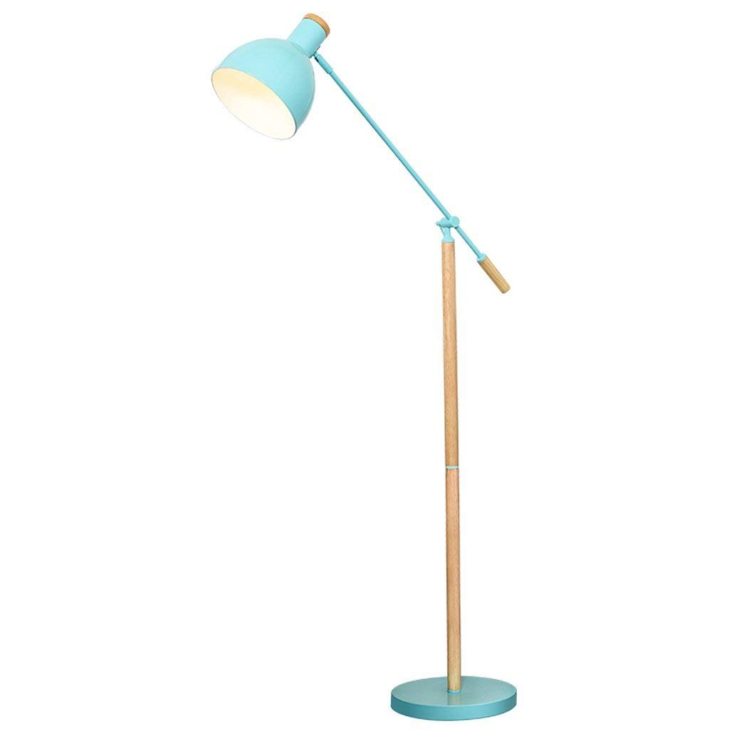 European Modern Style Adjustable Floor Lamp, Iron Lampshade, Living Room Study Bedroom Creative Floor Light, Reading Vertical Floor Lamp, Wooden Lamp, Iron Lamp, E27 (Color : Blue)