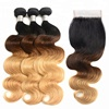 Free Part Ombre Brazilian Body Wave Hair Bundles With Closure Three Tone T1B/ 4/ 27 Human Hair Bundles With Lace Closure