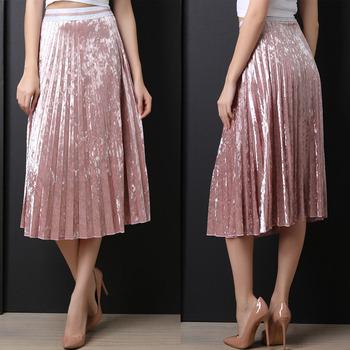 Clothing Women Plus Size Elastic Waist Maxi Long Velvet Pleated ...
