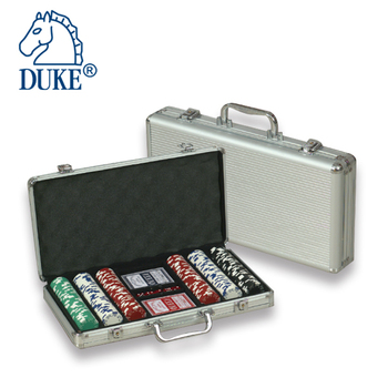 300 stks Poker Chips & 2 Decks Speelkaarten Game Set in Aluminium Case