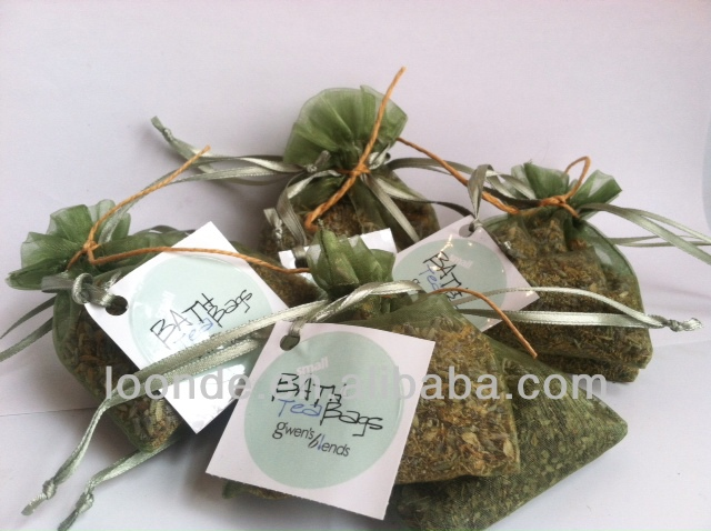 Germany quality Eco-friendly organza bag with tags for tea packaging