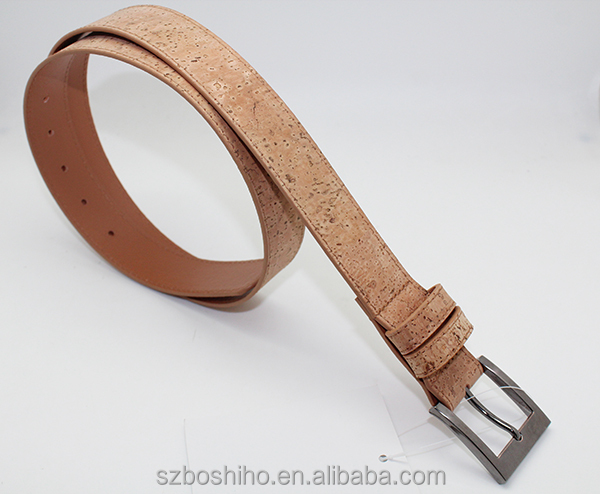 Boshiho Men leather Belt Cork fabric with removable buckle Eco-friendly productds
