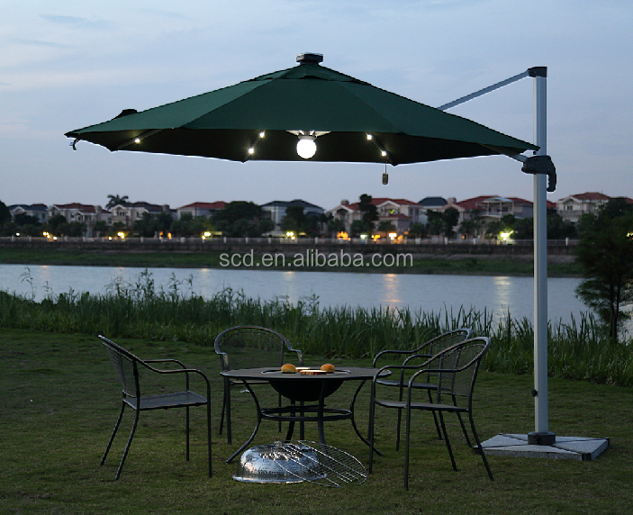 Patio Garden Used Beach Parasol Umbrellas With Solar Led lights