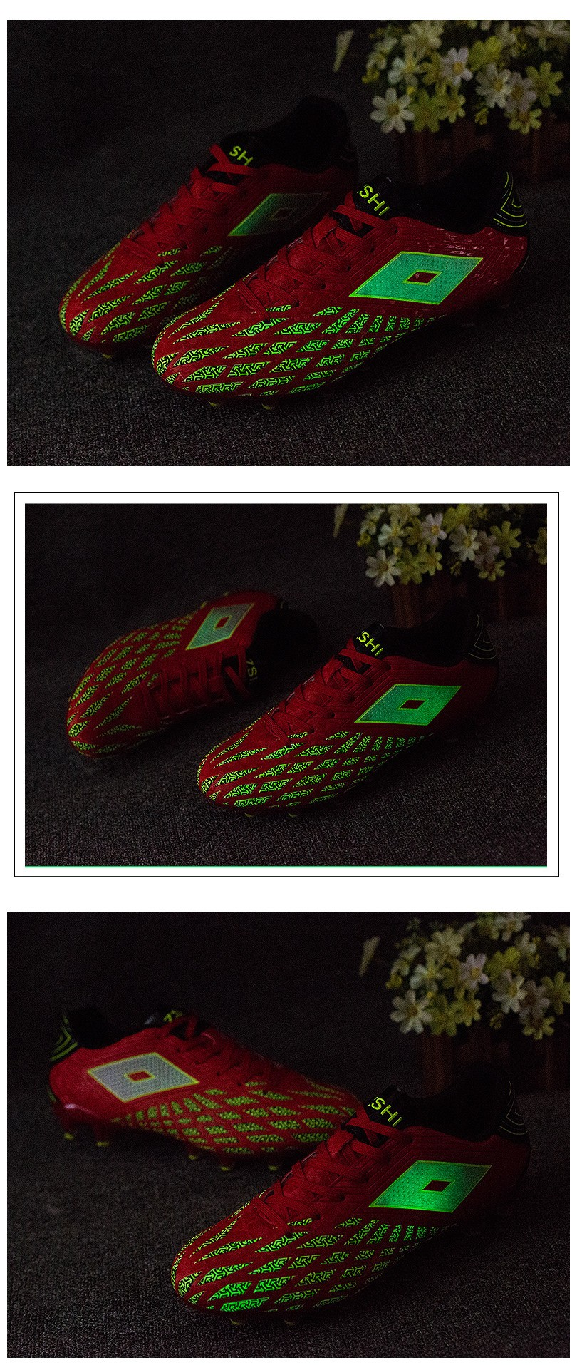 China Factory Luminous Shoes Wholesale Futsal Breathable Soccer Shoes Discoloration Football Shoes For Men