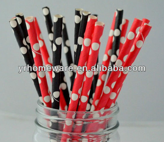 Minnie Mouse Party 25 Red and Black Polka Dot Wholesale Paper Straws