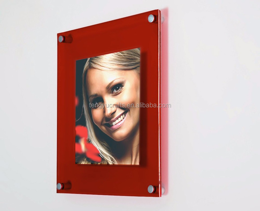 custom size picture stand display lucite dual plate wall mounted clear acrylic magnet photo frames with standoff