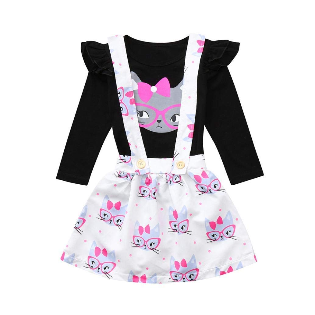 1795576e95a9 Get Quotations · Hunzed Toddler Infant Baby Girls Outfits Set, Cartoon  Ruched Tops+Strap Dot Print Skirt