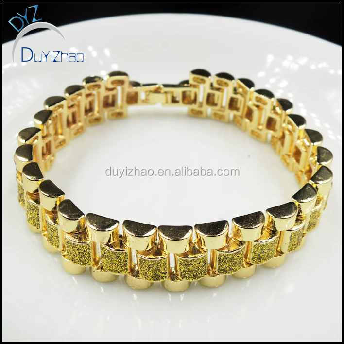 YIWU DUYIZHAO jewelry factory wholesale hip hop mens 24k gold plated bracelet
