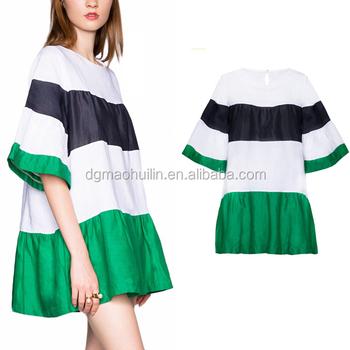 Hot Fancy Green Color-block Striped Babydoll Dress Pattern