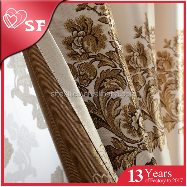Wholesale high quality waterproof damask kitchen curtain ready made fabric