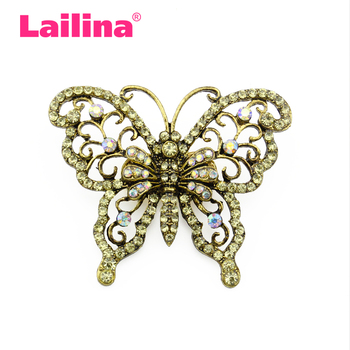 92034e7717e New Arrival Custom Made Vintage Brooches Luxurious Antique Gold-tone  Butterfly Rhinestone Crystal Insects Brooch