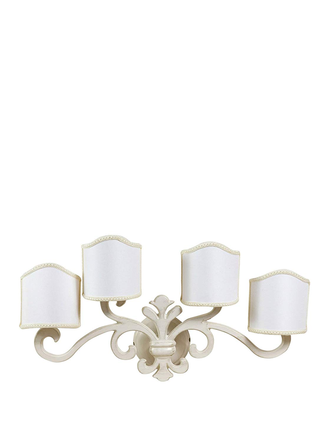 W56XDP17XH30 cm Sized Made in Italy Casting Aged Brass Made White Lacquered Florentine-Style Wall Applique lamp