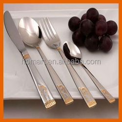 new design hotel stainless steel satin gold antique cutlery set