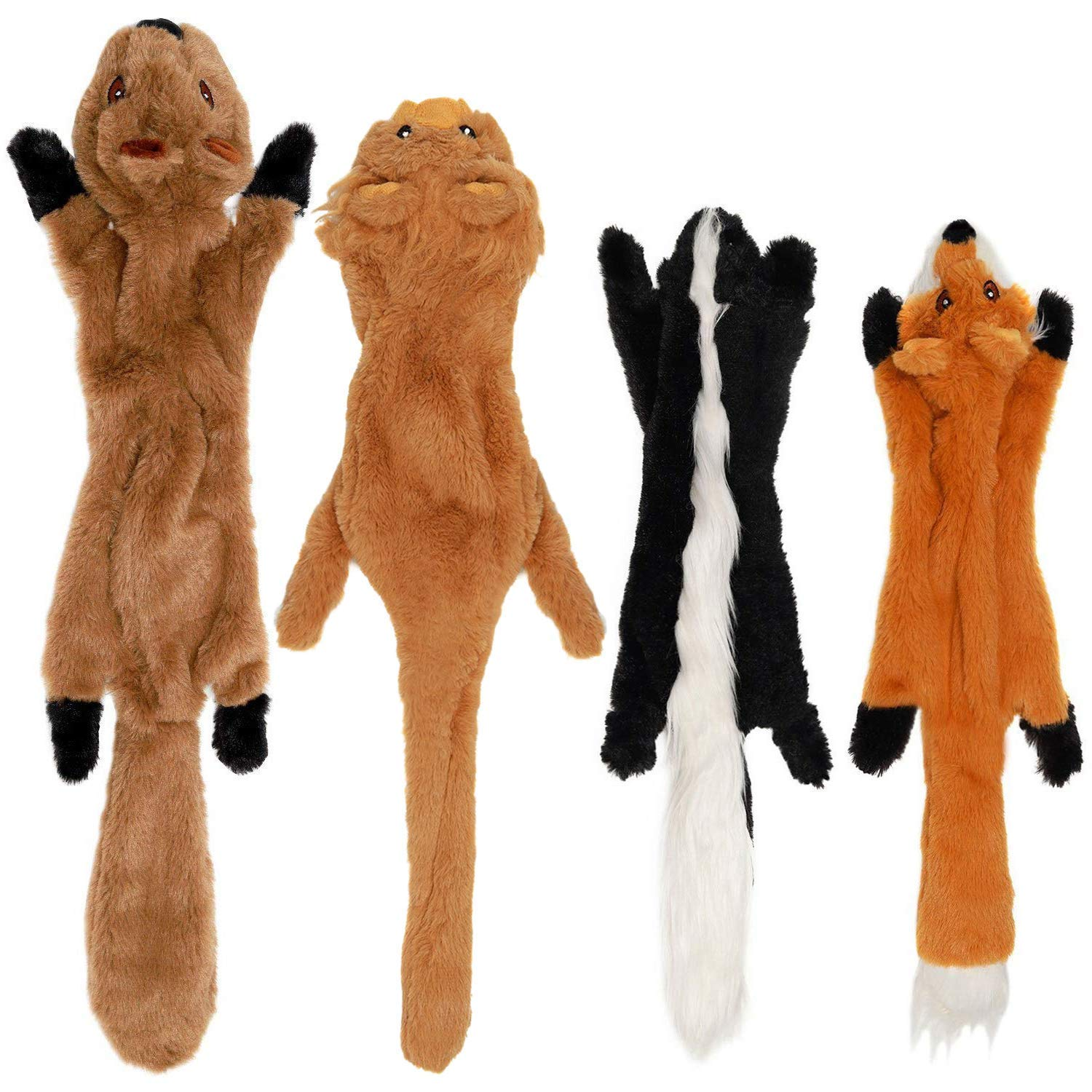 VVWEE No Stuffing Dog Toys with Squeakers, Durable Dog Squeaky Toys Unstuffed Dog Toys Set with Squirrel Fox Lion Skunk, Plush Chew Toys for Large Medium Small Dogs 4 Pack, 24-Inch