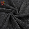 Black heather non stretch french terry knitted 100 polyester yarn dyed fabric for sweater