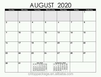 Agosto 2020 Calendario.Impresion Offset Agosto 2020 Mensual Semanal Planificador Calendario Grafico Buy Calendario De Impresion Planificador Calendario Calendario 2020