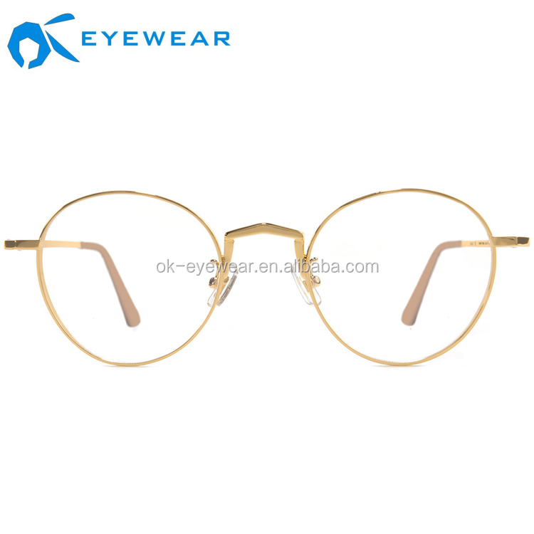 OEM Stainless Steel 안경 Trendy Rose 금 광 Glasses 정신 프레임 Round lens