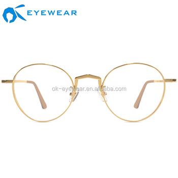 08575cbfc23 OEM Stainless Steel Eyeglasses Trendy Rose Gold Optical Glasses mental  Frames Round lens