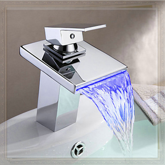7 Faucet Finishes For Fabulous Bathrooms: Bathroom Sink Faucet With LED Light Contemporary Waterfall