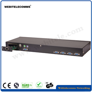 With IP Function,4 port VGA Rack-mounted KVM console