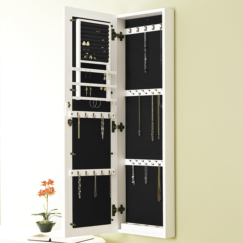 Hanging Wall Recessed Mirror Jewelry Storage Cabinet With Mirror