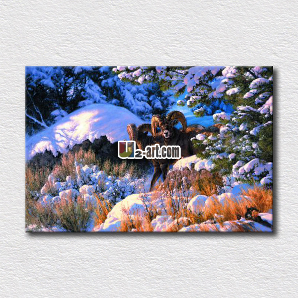 Picture of winter strggle animals canvas prints painting picture for decorating home wall special gift