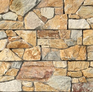Landscaping Yellow Slate Rock Natural Wall Stone Panel With Cement