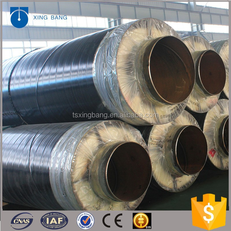 Thermal resistant pipe wrapped with glass wool and aluminum foil for chemical plant steam supply