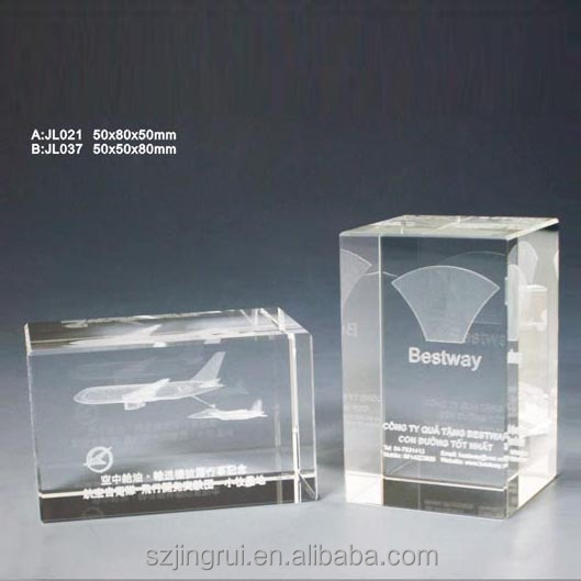 3d laser crystal engraving airplane gifts JL021
