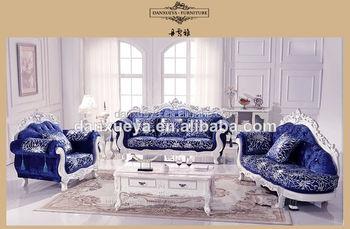 Cherry Country Style Furniture , White Blue Velvet Sofa Set , Wood Carved Living  Room Sofa