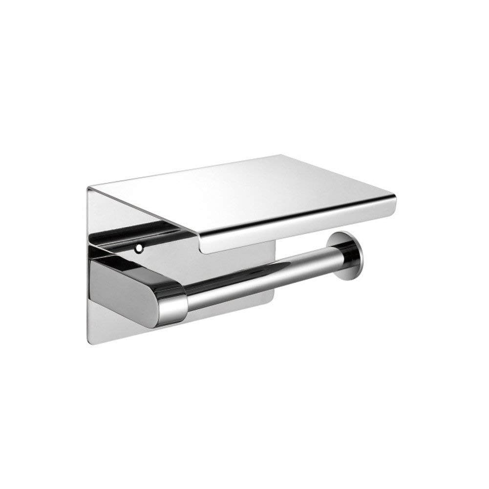 WYMNAME Wall mount toilet paper holder,Stainless steel bathroom tissue holder with mobile phone storage shelf-A