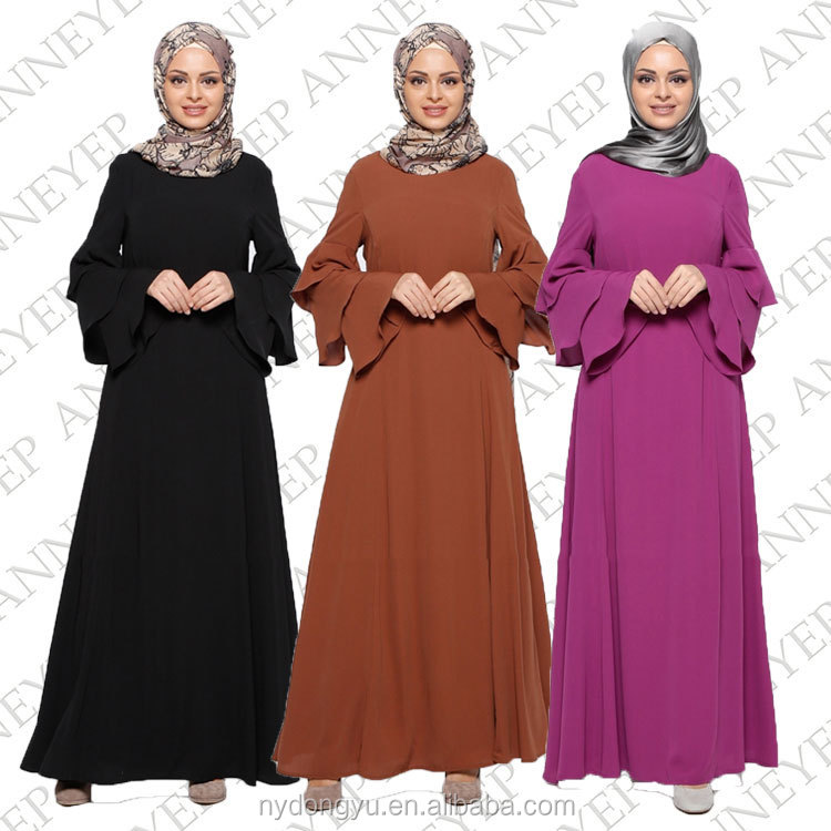 Loose fit hemp muslim dress/ jnj Arabian islamic solid color Middle East abaya kaftan dresses/fancy dl islamic abaya