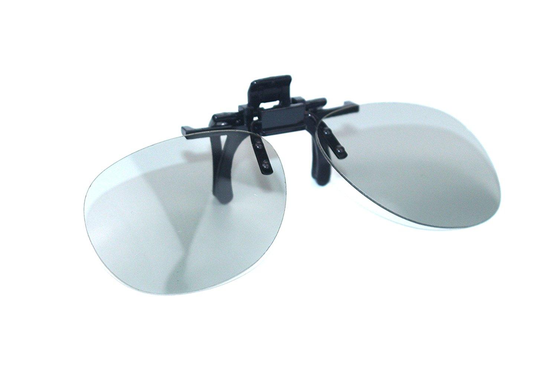 ZLXC Clip on Polarized Circular Adults Passive 3D Glasses universal glasses suit for TV TV IMAX Cinema Movie Film (Gray)